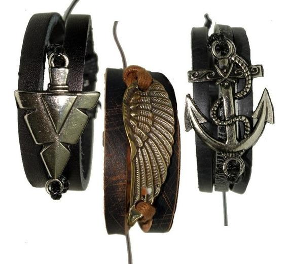 Pulseira Masculina Couro Ajustável Bracelete Kit 3 Unidades