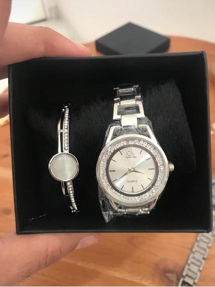 Relógio Feminino Quartz Original + Pulseira Brinde E Estojo