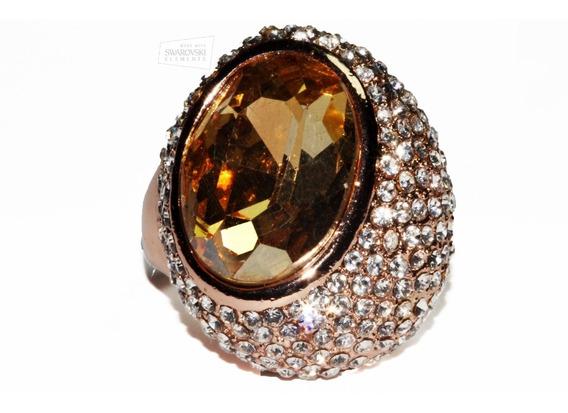Anillo Cristales Swarovski Elements Oro Rosado Café Ase134