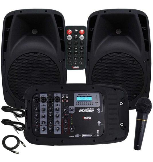 Caixa Ativa Novik Evo 410 Handy Kit 2 Cx Mixer E Mic