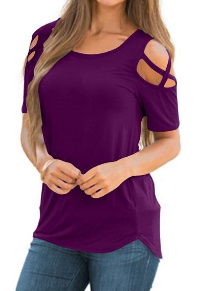 Mujeres Camiseta Casual Algodón Sólido Manga Corta