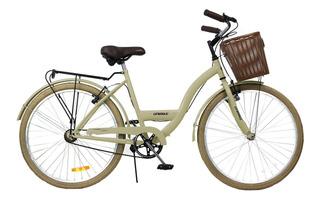 Bicicleta Paseo Dama Vintage Rodado 26 Unibike Con Canasto