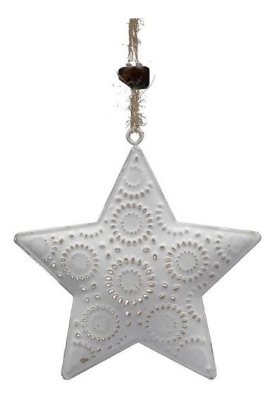 Adorno Navidad Colgante Arbolito Estrella Corazón Blanco-oro