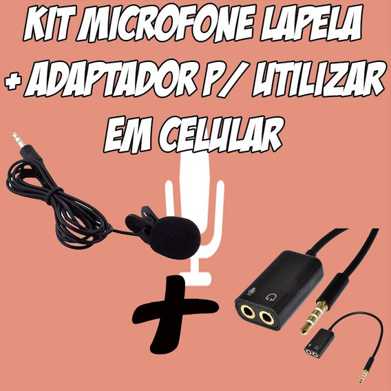 Kit Microfone Lapela Plug P2 + Adaptador P3 X P2 P/ Celular