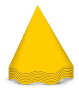 Chapéu De Aniversário Festa Colors Amarelo 8 Unidades