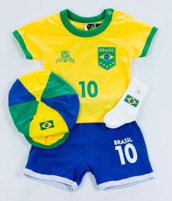 Kit Brasil Masculino Copa Do Mundo - Roupas Infantis