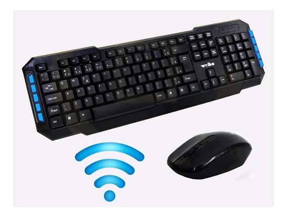 Kit Teclado + Mouse Wireless Multimídia Gamer Sem Fio Wb8099