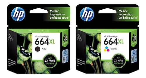 Combo Cartucho Hp 664xl Negro + Hp 664xl Color Original