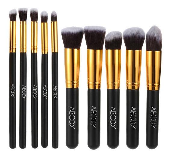 Abody 10pcs Professional Makeup Brush Kit Conjunto Cosmético