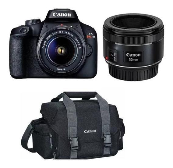 Câmera T100 18mp Eos 18-55mm + Lente Profissional Ef75+bolsa