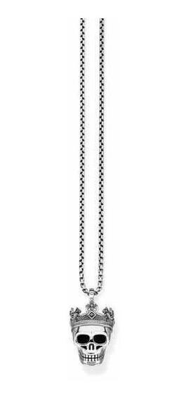 Collar De Calavera Plata S925 Estilo Thomas Sabo