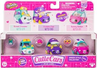 Shopkins Cutie Cars Set X 3 Autos + 3 Shopk Die Cast Body
