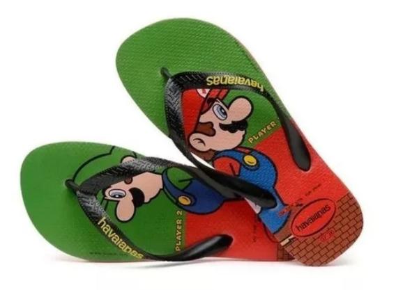 Sandália Havaianas Super Mario Bros- Luigi Original Presente