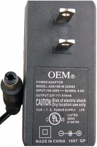 Oem Ads18b-f 220082 Ac Adapter 22vdc 818ma