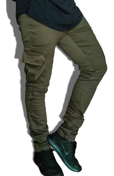 Calça Jogger Jeans Biker Destroyed Cargo Masculina J02