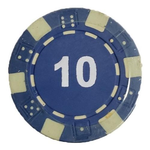 Imagen 1 de 7 de Tubo 20 Fichas De Poker Numeradas X 11.5grs Azul