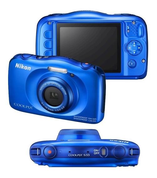 Camera Nikon Cooplix S33 Azul A Prova D