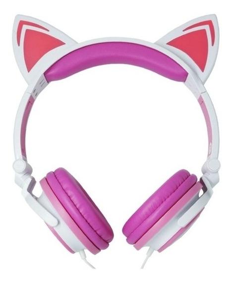 Fone Ouvido Headphone Com Fio Estéreo Orelha Gatinho Led