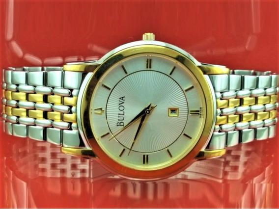 Relógio Bulova 98h48 Original, 2 Tom, Com Data No Visor.