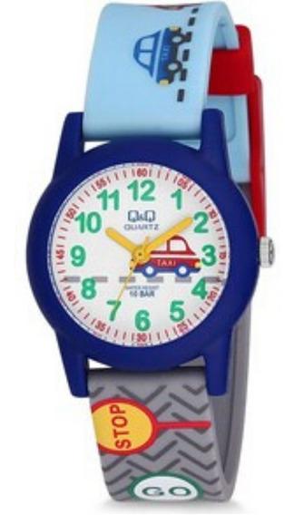 Relógio Masculino Infantil Azul Pulseira Cinza E Azul Q&q