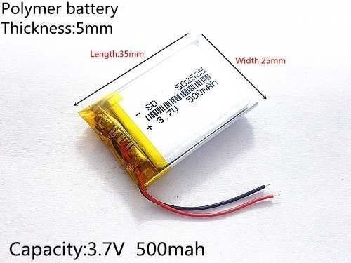 Bateria 500 Mah Rastreador Gps Mp5 2 Fios 5mm X25mm X35mm