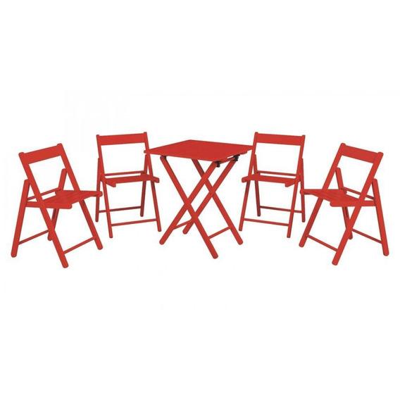 Conjunto Mesa 4 Cadeiras Aconchego Tramontina Vermelho