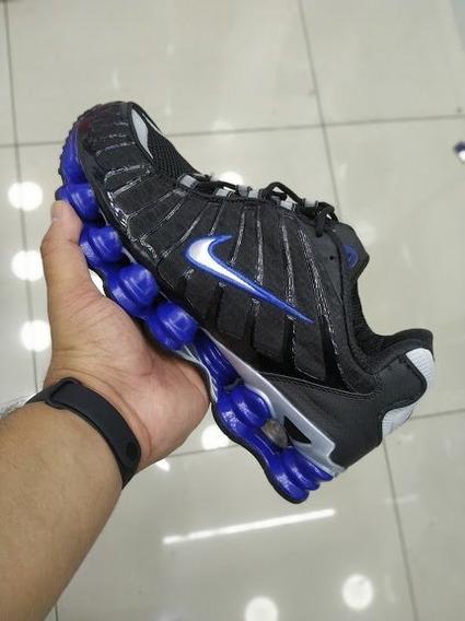 Tenis Nike Shox 12 Molas Original Preto E Azul Black Friday
