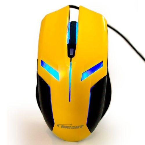 Mouse Gamer Bright 0375 Amarelo 2400 Dpi Jogos
