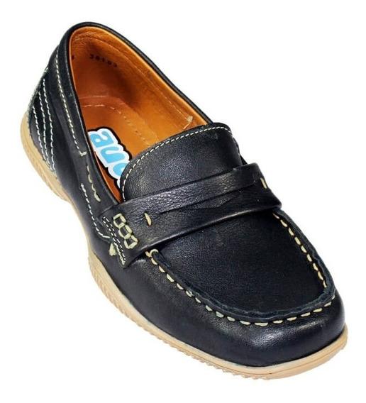 Zapato Escolar Colegial Mocasin Coqueta Niño Azul Marino