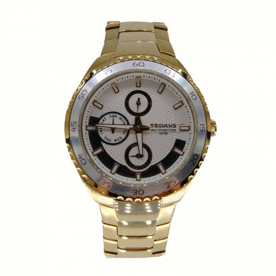 Relógio Seculus Feminino Dourado Calendário