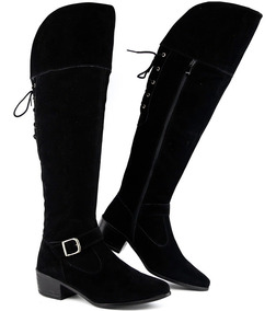 Bota Feminina Over The Knee Ziper Lateral Cano Longo 2019