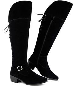 Bota Feminina Over The Knee Ziper Lateral Cano Longo 2019