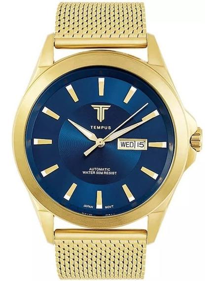Relógio Masculino Tempus Elite Zw20127a Gold Blue - Oferta!