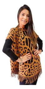 Blusa Ponche Feminino Kimono Animal Print Onça Oncinha Frio
