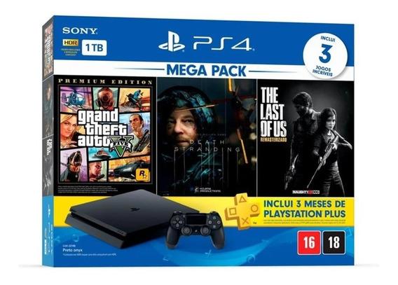 Ps4 Playstation 4 Slim 1tb Com 3 Jogos 1 Ano De Garantia