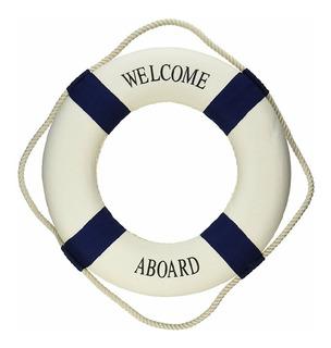 Salva Vidas Decorativo Náutica Welcome Aboard 45cm Aprox