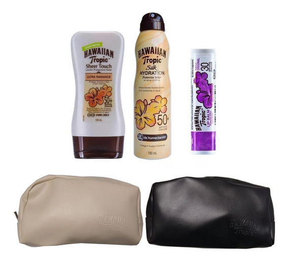 Protector Solar Hawaiian Tropic 50spf + Spray + Labial 30spf