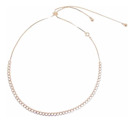 Choker Prata 925 Ouro Rosé Cravação Inglesa Regulável