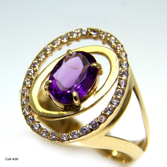Anel Ouro 18k Pedra Ametista
