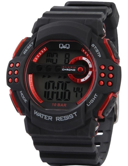 Relógio Pulso Q&q M128j001y Digital Borracha Preto Original