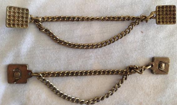 12 Correntinha Com Enfeite - Metal Banho Ouro Velho 13cm