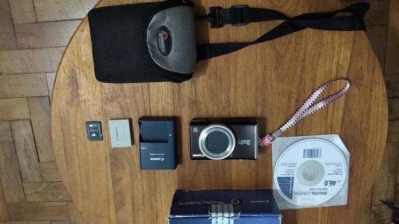 Canon Power Shot Sx200 Is Preta Câmera Digital Zoom 12x Ótic