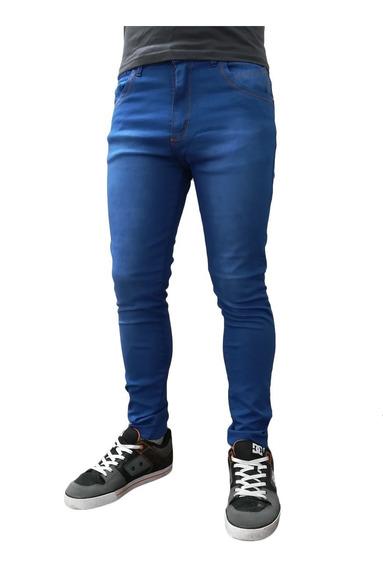 Jean Chupin Hombre Azul Elastizado Clasico Premium