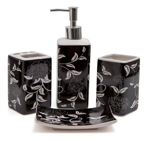 Kit Banheiro Lavabo Conjunto Porta Sabonete Líquido Escova