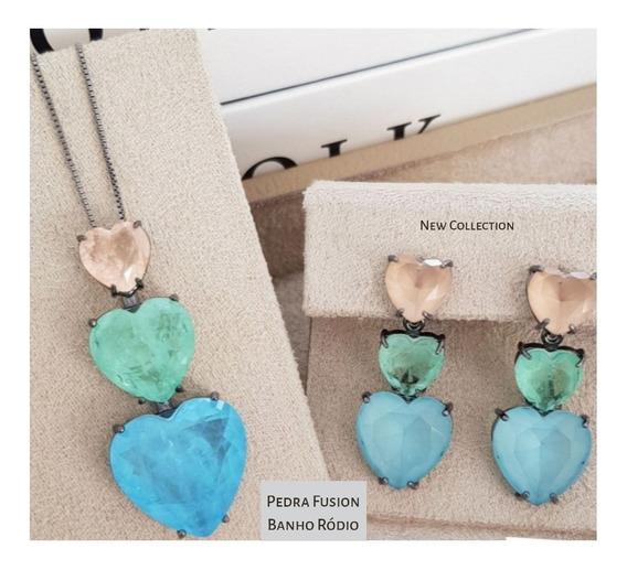 Colar Folheado Corações Pedras Preciosas Luxo + Brinco+caixa