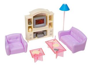 Mueble Casa Muñeca Barbie Sala Entretenimiento Grande Full