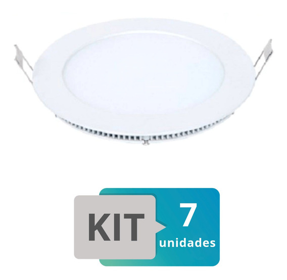 Kit 7 Painel Plafon Led Embutir Slim Redondo 25w Branco Frio