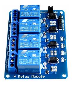 Módulo Relé 4 Canais Arduino Uno Automação Relay Module