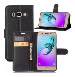 Capa Carteira Flip Para Galaxy J7 Neo Preta Com Porta Cartão