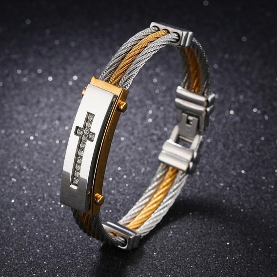 Pulseira Bracelete Masculina Nova + Aço + Ouro + Promoção.